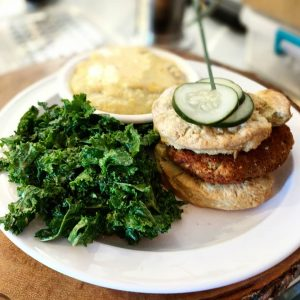 Hot Vegan Chicken Biscuit Sandwich at Cashew Chattanooga
